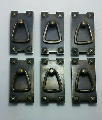 """6 Mission Stickley antique style brass vertical ring handles pulls 2 1/2"""" #H25 4"""