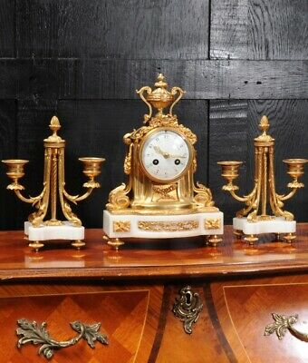Ormolu and Marble Boudoir Antique French Clock Set by Vincenti C1860 6