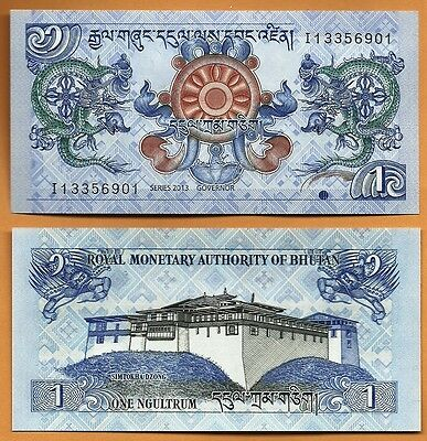 2 PCS Bhutan  2013 GEM UNC 1 Ngultrum Banknote Paper Money Bill P-27b