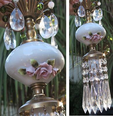 Vintage Capodimonte PInk ROSE porcelain Brass swag lamp chandelier French Apartm 6
