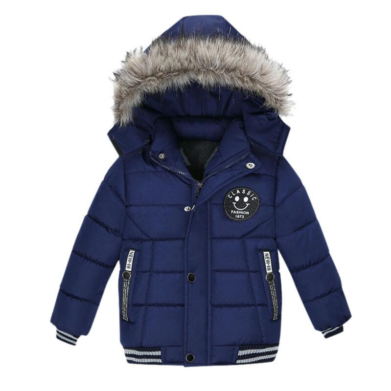 Boys Kids Winter Coat Hooded Warm Cotton Fur Padded Parka Jacket Outerwear 1-5T