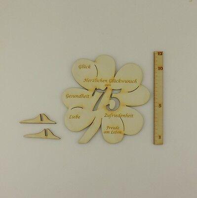 75geburtstag Gravierte Glückwünsche Auf Einem Kleeblatt Als