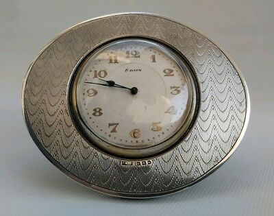 Vtg 1927 PMI Ltd Art Deco Solid Silver Oval Easel Stand Swiss Desk Travel Clock