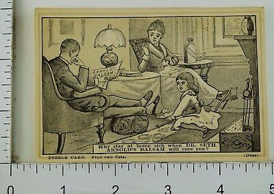 Dr. Seth Arnold's Balsam Puzzle Card Find Two Cats Family Parlor P58