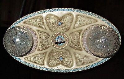 1 Vtg Art Deco Era Victorian Cast Ceramic Flush Mount Chandelier Ceiling Fixture 4