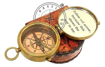 5 Pieces Engraved Brass Compass Maritime Antique Pocket Gift With Leather Case 6