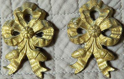 Antique Set Of 2 Gilded Bronze Knots Embrace Or Furniture Brackets  Louis Xvi 2