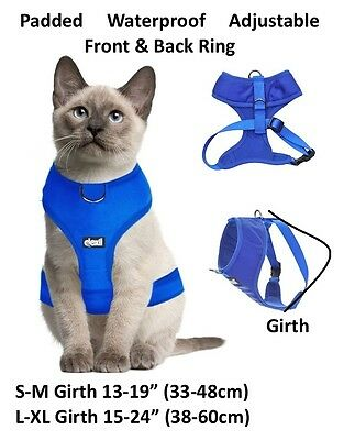 Cat Harness Pink Black Blue Yellow Red Waterproof Padded Adjustable  S M L EX L