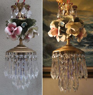 Porcelain ROSE pink Chandelier SWAG lamp Capodimonte Brass Vintage crystal 4