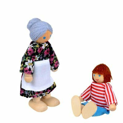 UK Wooden Furniture Dolls House Family Miniature 7 People Doll Kids Children Toy 9