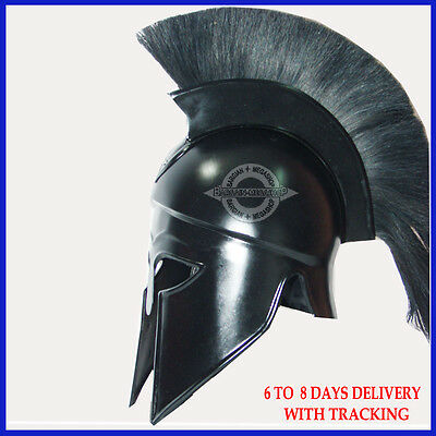 Medieval Greek Corinthian Helmet with Black Plume, Armor Knight Spartan Costumes