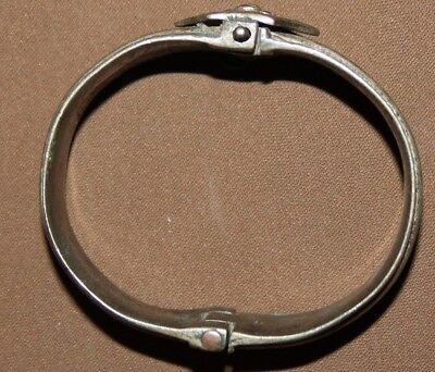 Antique Greek folk ornate silver hinged bracelet