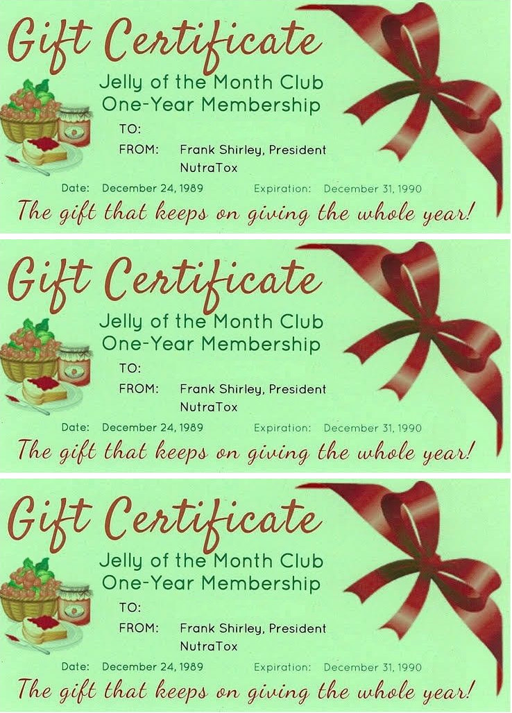 National Lampoon's Christmas Vacation Jelly Of The Month Club Certificate *3!!*