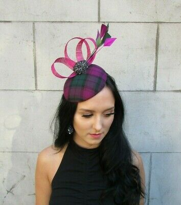 Fuchsia Pink Plum Purple Dark Green Feather Pillbox Hat Fascinator Hair 7681 2