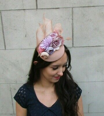 Nude & Lilac Light Purple Flower Feather Hat Fascinator Races Wedding Hair 9042 2