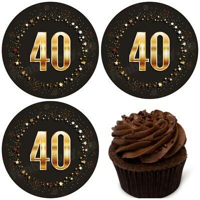 40.Geburtstag eßbar Torten-bild Muffin-aufleger Party Deko Geschenk-Idee Cupcake