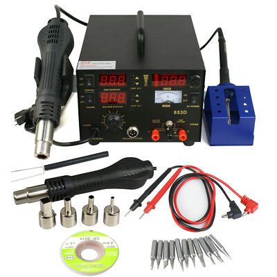3 in 1 853d SMD DC Power Supply Hot Air Iron Gun Rework Soldering Station 700W 7