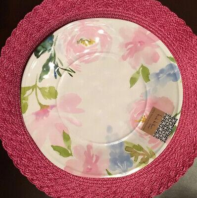 SET OF 4 Nicole Miller Pink Floral Roses Melamine DINNER Plates