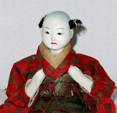 """Antique Japanese Seated 4.5"""" Musician Drummer Hina Doll BH4#AD4161415.8 5"""