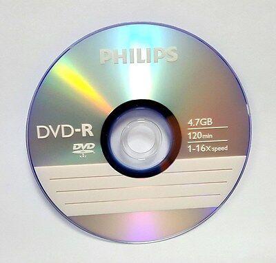 100 PHILIPS DVD-R Logo 16X 4 7GB Media Disc (2x50pk) + 100 White Paper  Sleeves