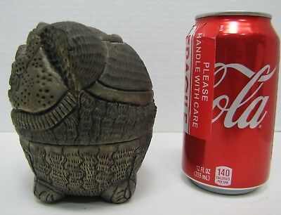 Antique Foo Dog Decorative Arts Container Punched Hammered Stamped Metal Box 7