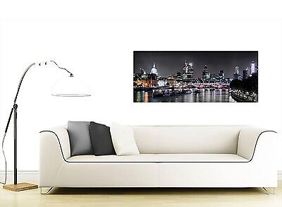 London Skyline at Night Canvas Art Prints in Black and White 2