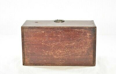 Antique Chinese Red Wooden Jewelry Box with Brass Hardware 7