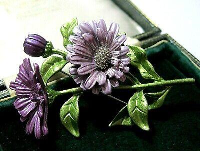 Beautiful Enamel Purple Chrysanthemum Flower Brooch Shawl Pin Coat Decor SU