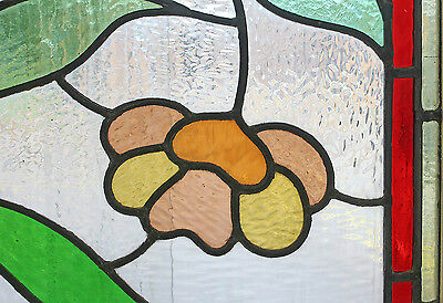 Antique Stained Glass Window Eight Colors of glass Ruby Bordered Bloom    (2638) 2