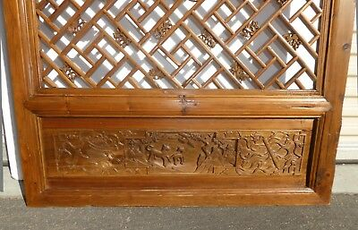 Antique Asian Chinese Carved Chinoiserie Door Panel Wall Hanging 9