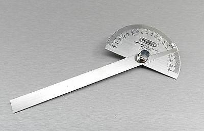 """Protractor General Tool No.18 Round Head Stainless Steel 6"""" 0-180 Degree 22024 5"""