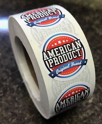 "Made in America/USA Stickers 1"" 1 roll of 500"