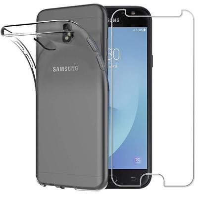 Pour Samsung J3/J4/J5/J6/J7 2018 2017 2016 Case Coque Tpu + Vitre Verre Trempe 3
