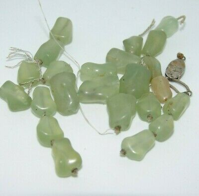 Antique Chinese China Green Jade Gemstone Necklace Beads 7