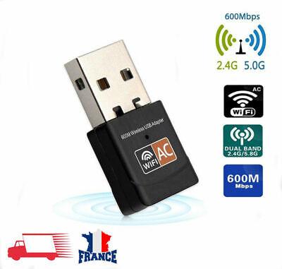 600Mbps USB Clé WiFi Dongle Adaptateur Double Bande 2.4GHz 5GHz PC Network LAN 2