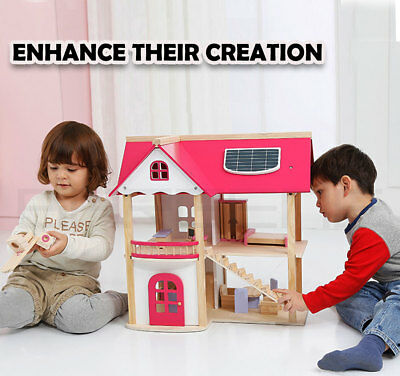 Wooden DIY Dolls Doll House 3 Level Kids Pretend Play Toys Full Furniture Set Pi 2