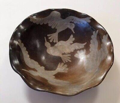 Peru Chulucanas Pottery Bird Bowl Signed S Moncada Precolumbian Technique Vtg 2