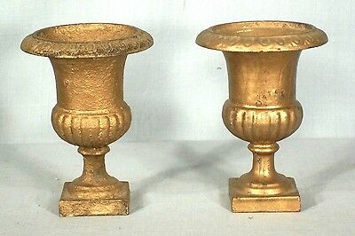 PAIR OF 19th- 20th CENTURY MINIATURE CAST IRON URNS ON A SQUARE PLATFORM BASE 2