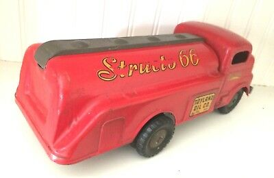 Vintage Pressed Steel Toys -Structo 66- Truck Toyland Oil/ Gas 1950'S Red 4