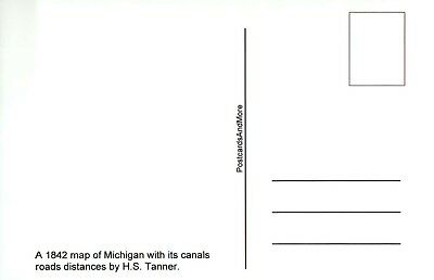 Map of Michigan with Canals Roads Distances by H.S. Tanner, 1842, MI -- Postcard