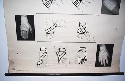 "Rollkarte Lehrkarte "" Bindenverbände I "" Hygiene Museum deko vintage (19"