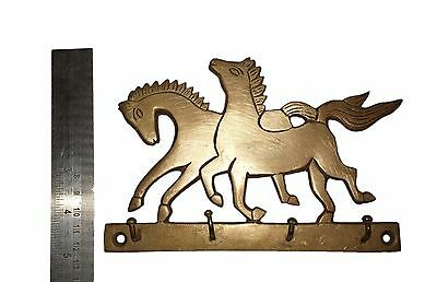 An Old & Lovely Brass made Unique RUNNING HORSES Coat Hook KEY HANGER from India 3
