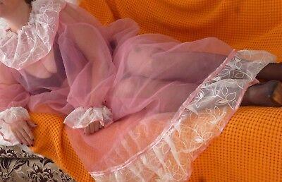 Rosa trans Organza Sissy Boy Negligee  Rüschen Nylon Nachtkleid L/XL-XXL