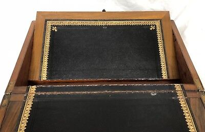 Antique Victorian Walnut & Brass Campaign Writing Box Slope SECRET DRAWERS 11