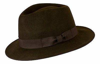 Gamble /& Gunn Grey Vintage Style /'Kempton/' Traditional Trilby 100/% Wool Felt