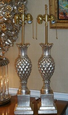 Superb Pair Thomas Morgan Designer Table Lamps w Silver Leaf Pineapple Base 2