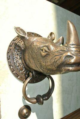 banger Heavy large RHINO heavy Door Knocker SOLID 100% BRASS Rhinoceros B 4