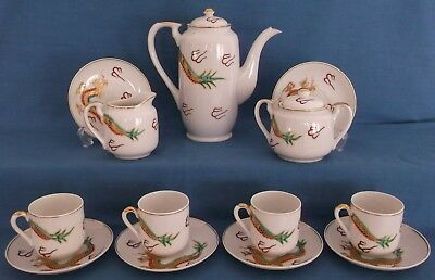 Vintage Japanese Satsuma Dragon Gold Porcelain Coffee Set Lithopane Geisha Girl 2