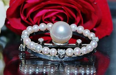 1930's 14k white gold pin brooch 9mm pearl & 0.50ct diamond antique handmad 5.9g 12