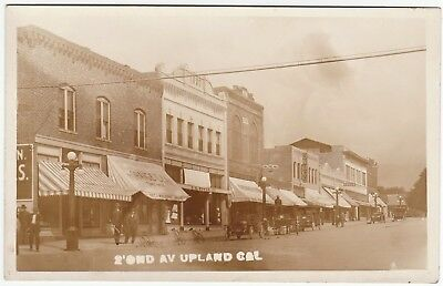 RARE Real Photo LOT of 2 - Upland CA c1912 Street Scene Stores School RPPC 2
